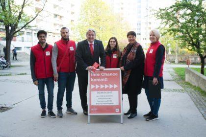 waff Gemeindebauaktion mit Stadträtin Renate Brauner Beratung Rennbahnweg
