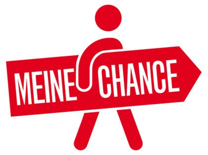 Logo Meine Chance Rotes Männchen mit Schild